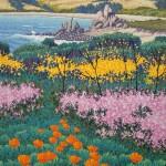 """""""April, Carmel Meadows"""" - 10"""" x 8"""" - Reduction Woodcut Print - Gordon Mortensen"""