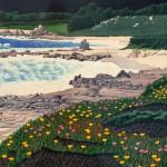 """Ice Plant, Carmel"" - 24"" x 38"" - Reduction Woodcut Print - Gordon Mortensen"