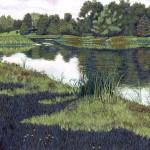 """Green Mountain Lake"" - 26"" x 19"" - Reduction Woodcut Print - Gordon Mortensen"