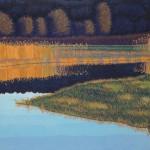 """Golden Dusk"" - 12"" x 18"" - Reduction Woodcut Print -Gordon Mortensen"