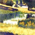 """Reid Pond""- 10"" x 8"" - Reduction Woodcut Print - Gordon Mortensen"