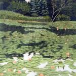 """Waterlilies""- 10"" x 8"" - Reduction Woodcut Print - Gordon Mortensen"