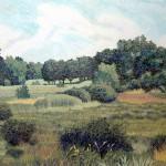 """West Baker Park""- 19"" x 26"" - Reduction Woodcut Print - Gordon Mortensen"