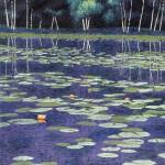 """Fire Lilies""- 30"" x 22"" - Reduction Woodcut Print - Gordon Mortensen"