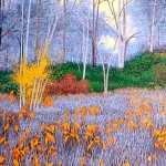 """Massachusetts Autumn""-22"" x 30"" - Reduction Woodcut Print - Gordon Mortensen"