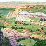 """Little Missouri River Valley"" - 19"" x 26"" - Reduction Woodcut Print - Gordon Mortensen"