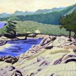 """Headlands Cove""- 12"" x 18.5"" - Reduction Woodcut Print - Gordon Mortensen"