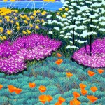 """Wildflowers and Point Lobos""- 20"" x 15"" - Reduction Woodcut Print - Gordon Mortensen"