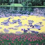 """Pulaski Pond""- 24"" x 17.25"" - Reduction Woodcut Print - Gordon Mortensen"
