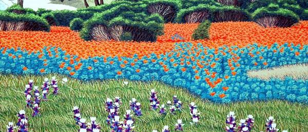 """Spring Time, Carmel Meadows"" - 15"" x 20"" - Reduction Woodcut Print - Gordon Mortensen"