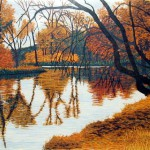 """""""Autumn"""" - 8"""" x 10"""" - Reduction Woodcut Print - Gordon Mortensen"""