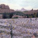 """Sedona Gold"" - 8"" x 10"" - Reduction Woodcut Print - Gordon Mortensen"