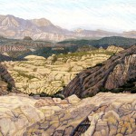 """Southwest Desert"" - 24"" x 32"" - Reduction Woodcut Print - Gordon Mortensen"