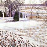 """Winter Morning"" - 8"" x 10"" - Reduction Woodcut Print - Gordon Mortensen"