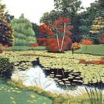"""October, Paramecium Pond"" - 17"" x 24"" - Reduction Woodcut Print - Gordon Mortensen"