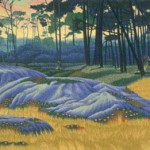 """Dunes at Spanish Bay""- 19"" x 26"" - Reduction Woodcut Print - Gordon Mortensen"