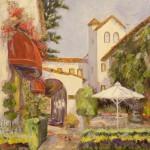 "Cypress Inn Patio - 24"" x 24"" - Oil - Dorothy Spangler"