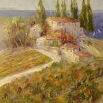 """On the Liguren Sea-Italy - 30"""" x 40"""" - Oil - Dorothy Spangler"""