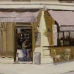 """Cafe #2 - Oil on Canvas- 11"""" x 14"""" -Philippe Gandiol"""