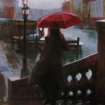"""Winter Rain in Venice #5 - 20"""" x 16"""" - Oil on Canvas - Tae Park"""