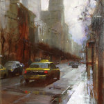 "Wet Street - 16"" x 4"" - Oil on Canvas - Tae Park"