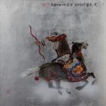 """Mongolian Warrior (archer) - 20"""" x 20"""" - Acrylic on Board - Mou-Sien Tseng"""