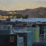 "Last Light on Alcatraz - 24"" x 36"" - Oil on Canvas - Philippe Gandiol"