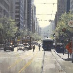 "Busy Crossing - 30"" x 30"" - Oil on Board - Richard Boyer"