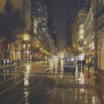 "San Fran - Market Street Bus - 24"" x 24"" - Oil - Richard Boyer"