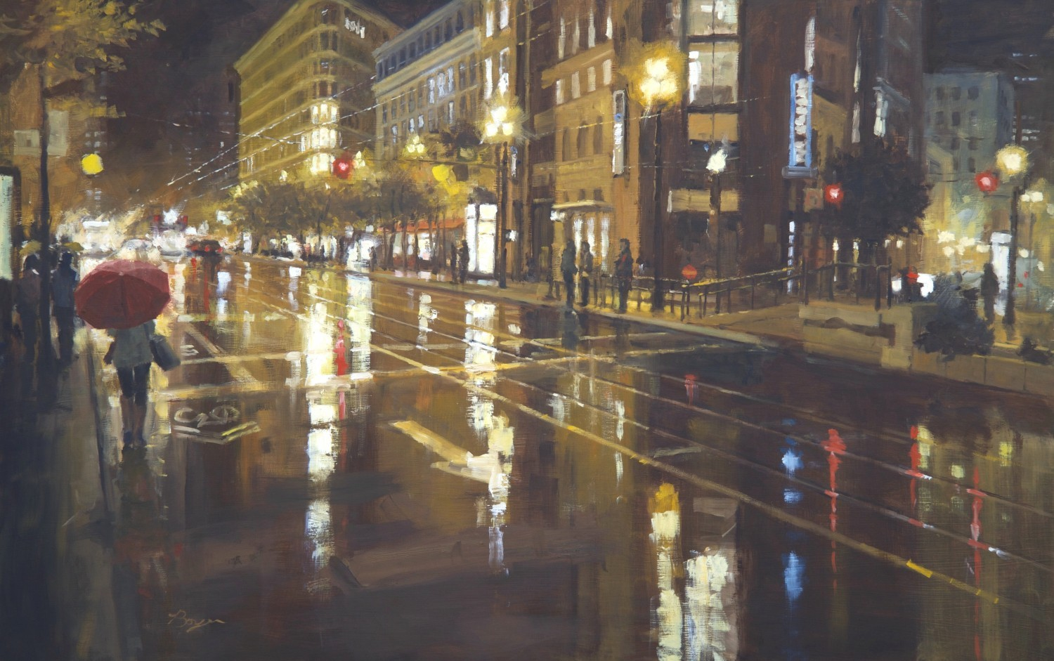 "San Fran - Wet Evening 24"" x 38"" - Oil - Richard Boyer"