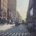 "City Buses - 36"" x 36"" - Oil on Board - Richard Boyer"