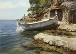 """By the Water - 18"""" x 24"""" - Egg tempera and Watercolor - Iban Navarro"""