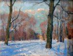 "Corner at the Park - 16"" x 20"" - Oil on Canvas - Aleksander Titovets"