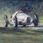 """Auto Union 1938 Nu Volari at Donington - 27"""" x 37"""" - Oil - Peter Hearsey"""