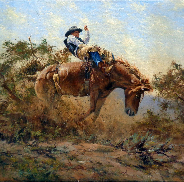 "Ropin the Calf - 30"" x 40"" - Oil on Canvas - Robert Hagan"