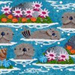 "Carmel Otters 10 - 4"" x 12"" - Oil on Canvas - Merry Kohn Buvia"