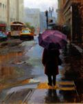 "Walking in the Rain - 20"" x 16"" - Oil on Canvas - Tae Park"