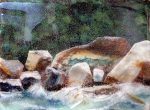 "Rocks and Water - 8"" x 10"" - Glass - Ann Cavanaugh"