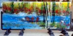 "River Scene with Red Maple - 12"" x 29"" - Glass - Ann Cavanaugh"