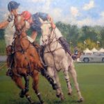 """Gullwing at the Polo - 39"""" x 39"""" - Oil on Canvas - Peter Hearsey"""