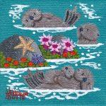"Little Otters 19 #E372 - 4"" x 4"" - Oil on Canvas - Merry Kohn Buvia"
