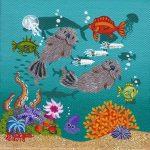 "Petite Otters 2 #E375 - 4"" x 4"" - Oil on Canvas - Merry Kohn Buvia"