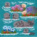 "Petite Otters 1 #E376 - 4"" x 4"" - Oil on Canvas - Merry Kohn Buvia"