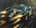 """Lights Brazing GT40 Lemans 24 hours - 8"""" x 10"""" - Oil on Canvas - Barry Rowe"""