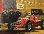"""Napoli 1934 Coppa de Piemonte (Nuvolari Maserati) - 8"""" x 10"""" - Oil on Canvas - Barry Rowe"""