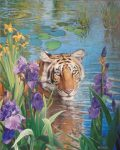 "Tiger in Waterlilies - 30"" x 24"" - Oil on Canvas - Wayne Weberbauer"