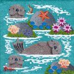 """Little Otters 10 - 4"""" x 4"""" - Oil on Canvas - Merry Kohn Buvia"""
