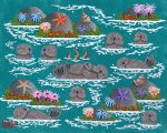 "Monterey Otter Raft 4 - 8"" x 10"" - Oil on Canvas - Merry Kohn Buvia"