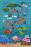 "Carmel Otters 20 - 6"" x 4"" - Oil on Canvas - Merry Kohn Buvia"