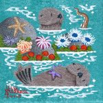"""Little Otters 13 - 4"""" x 4"""" - Oil on Canvas - Merry Kohn Buvia"""
